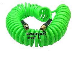 """1/4"""" x 30 foot POLYURETHANE RE COIL AIR HOSE male SWIVEL Fit"""