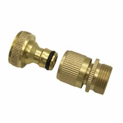 Garden Hose Quick Connector 3/4 Inch GHT Brass Easy Connect