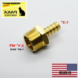 "1PC 1/2"" Hose Barb x 3/4"" Male NPT Brass Adapter Threaded Fi"