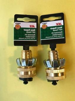 """2 - ACE 7308018  5/8"""" Brass Hose Repair Clinch Coupler Femal"""