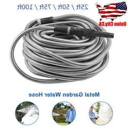 25/50/75/100ft Stainless Steel Flexible Metal Garden Water H
