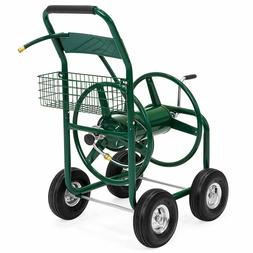 Best Choice Products 300ft Water Hose Reel Cart w/ Basket fo