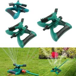 360° Lawn Circle Rotating Water Sprinkler 3 Nozzle Garden H
