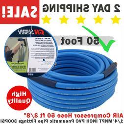 "AIR Compressor Hose 50 ft 3/8"" 1/4"" MNPT INCH PVC Pneumatic"