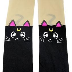 Anime Sailor Moon Luna Cat Cute Tight Printing Socks Cosplay