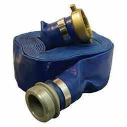 "Apache 98138015 1-1/2"" x 50' Blue PVC Lay-Flat Discharge Hos"