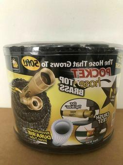 Brand New 50FT POCKET HOSE Top Brass Expanding Water Hose AS