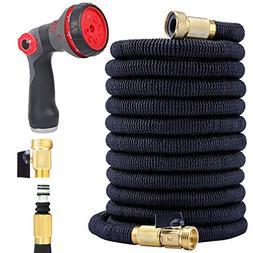 Flexible Garden Hose 50 Ft - Nozzle 8 Settings, 12 Months Wa