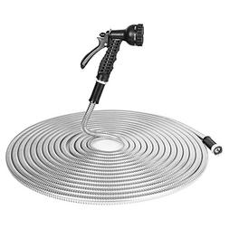 BOSNELL 50FT Garden Hose, 304 Stainless Steel Hose with 2 Fr
