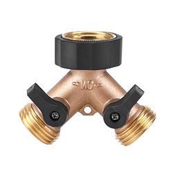 Yosoo 2 Way Heavy Duty Brass Y Valve Garden Hose Connector T