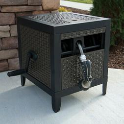 Hideaway 100 Ft Garden Hose Storage Reel Manual Wicker Metal