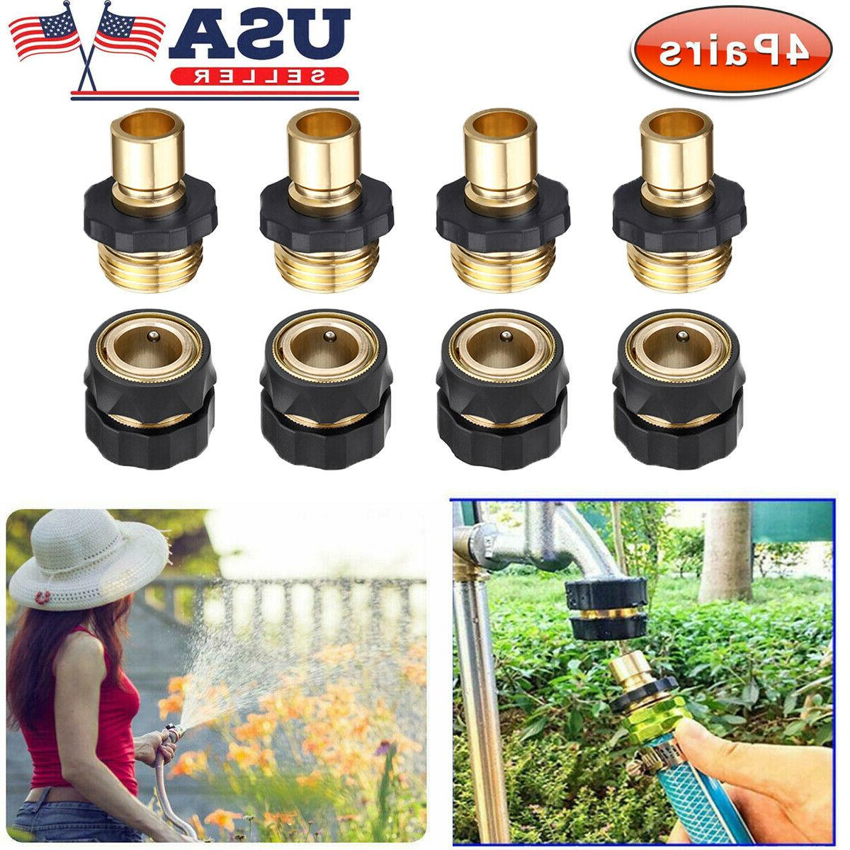 4 Pairs Universal Garden Hose Quick Connect Set Brass Hose T