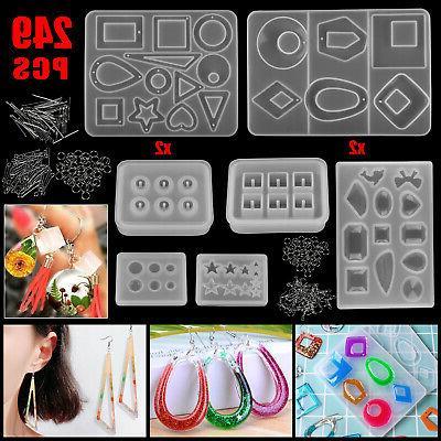 249pc/Set Epoxy Resin Casting Silicone Mold Kit Jewelry Maki
