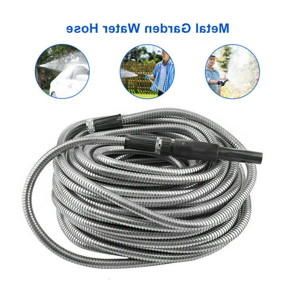 Stainless Steel Metal Garden Water Hose Pipe 50/75/100FT Fle