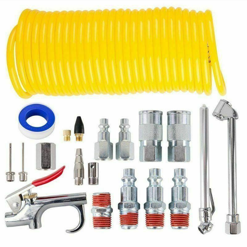 20 PIECE Air Compressor System Accessory Kit 25 ft Recoil Ho