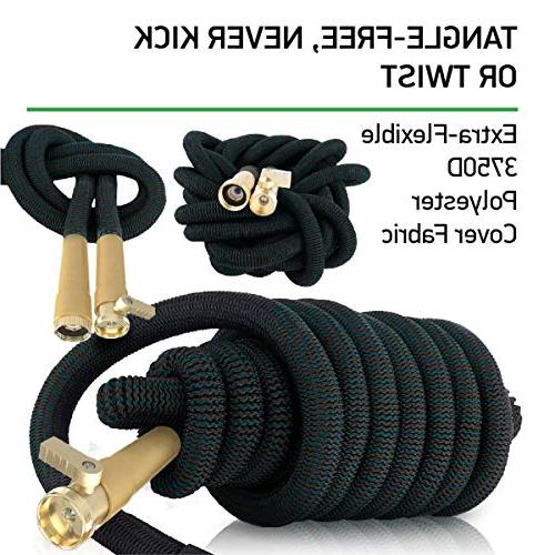 Expandable 50Ft Extra Strong Brass Connectors with 100% & 9-Way Best Water Hose for Flexible up 50FT
