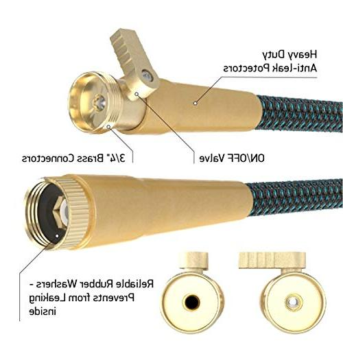 Expandable Garden 50Ft Extra Strong Brass with Protectors 100% 9-Way Spray Nozzle Best Pocket 100% Flexible 50FT