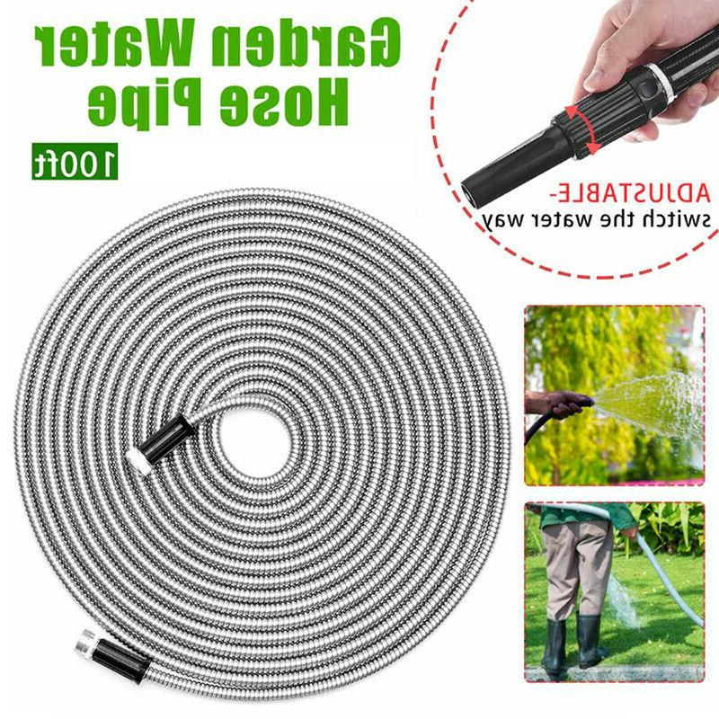 Flexible Stainless Steel garden hose Water Pipe 25/50/75/100