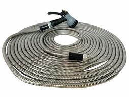 Metal Garden Hose 75' ft Stainless Steel With Free 8 Pattern