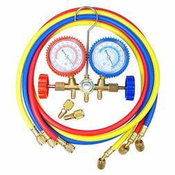 R410A R22 Manifold Gauge Set AC A/C 5FT Color Hose Air Condi