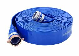 "Abbott Rubber PVC Discharge Hose Assembly, Blue, 2"" Male X F"