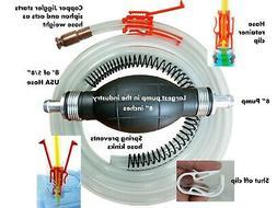 Large Siphon Hand Pump, Hose 8' & Jiggler Siphon Starter 2 i