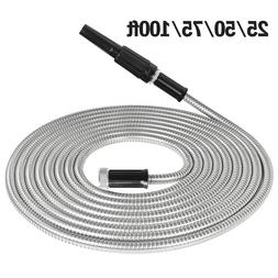 Stainless Steel Metal Garden Water Hose Pipe 25/50/75/100FT