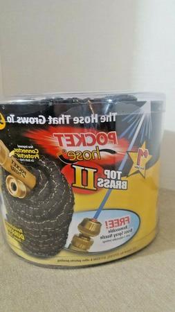 Pocket Hose Top Brass II 50' with Removable Brass Spray Nozz