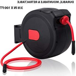 """3/8 in X 100ft Retractable Air Hose Reel 1/4"""" Inlet 300PSI A"""